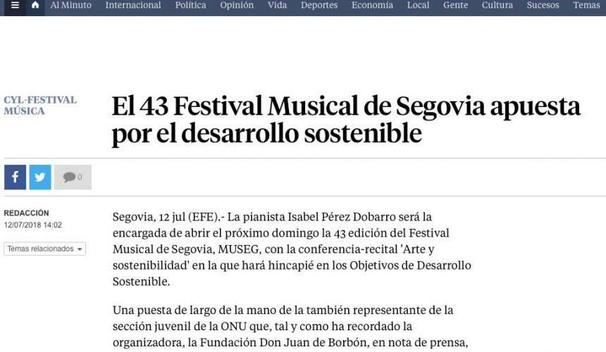 LA VANGUARDIA: El 43 Festival Musical de Segovia apuesta por el desarrollo sostenible