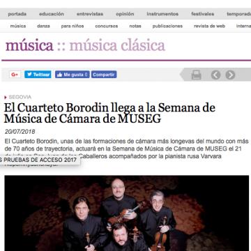 El Cuarteto Borodin llega a la Semana de Música de Cámara