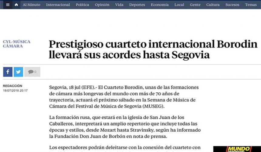 LA VANGUARDIA: Prestigioso cuarteto internacional Borodín llevará sus acordes hasta Segovia
