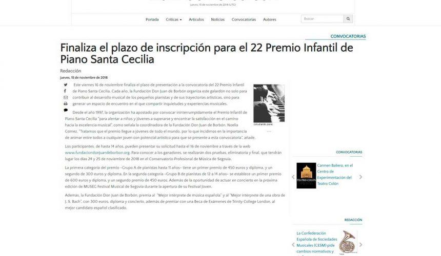 Finaliza el plazo de inscripción para el 22 Premio Infantil de Piano Santa Cecilia
