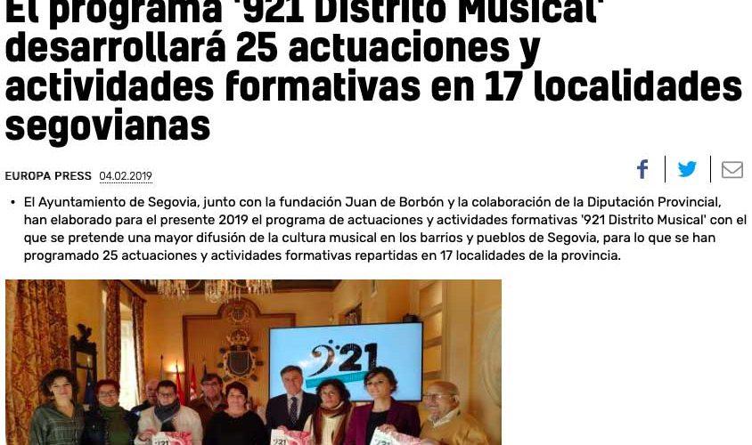 20 minutos: El programa '921 Distrito Musical' desarrollará 25 actuaciones y actividades formativas en 17 localidades segovianas