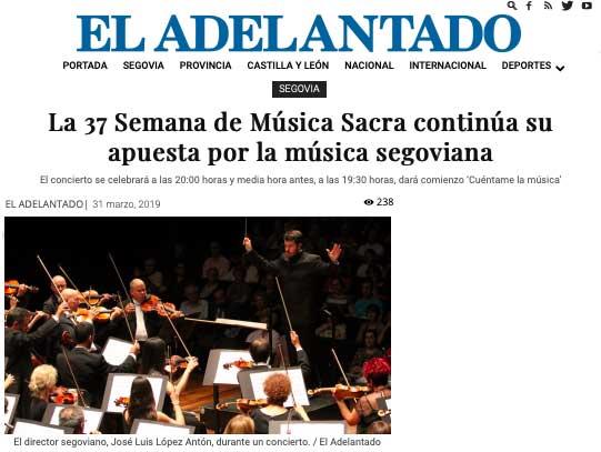 EL ADELANTADO: La 37 Semana de Música Sacra continúa su apuesta por la música segoviana
