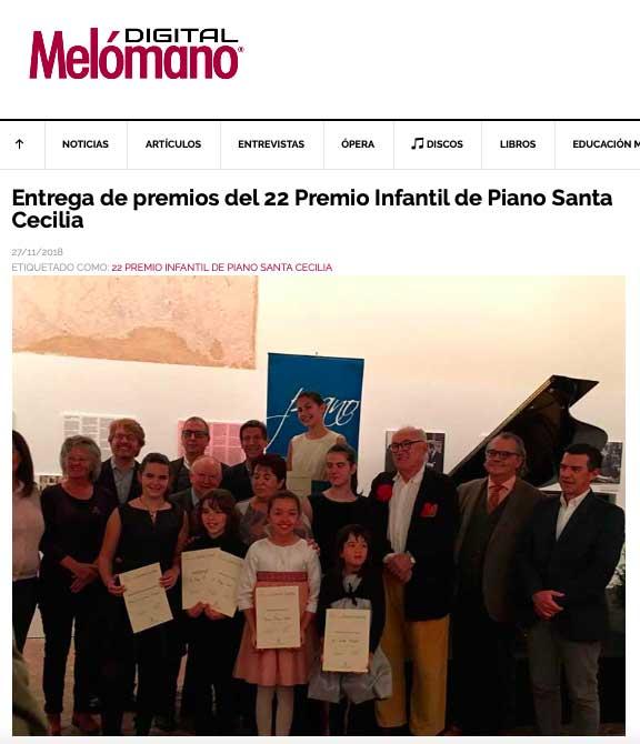 Melómano Digital: Entrega de premios del 22 Premio Infantil de Piano Santa Cecilia