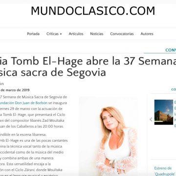MUNDOCLASICO: Fadia Tomb El-Hage abre la 37 Semana de música sacra de Segovia