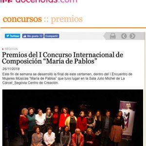 """docenotas.com: Premios del I Concurso Internacional de Composición """"María de Pablos"""""""