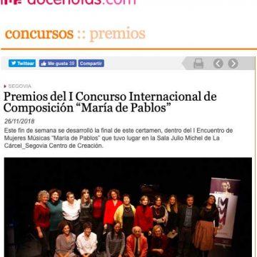docenotas.com: Premios del I Concurso Internacional de Composición «María de Pablos»