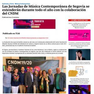 Las Jornadas de Música Contemporánea de Segovia se extenderán durante todo el año con la colaboración del CNDM