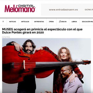 Melómano Digital: MUSEG acogerá en primicia el espectáculo con el que Dulce Pontes girará en 2020