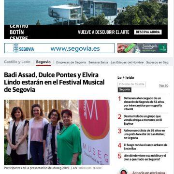 El Norte de Castilla: Badi Assasd, Dulce Pontes y Elvira Lindo estarán en el Festival Musical de Segovia