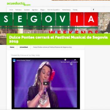 acueducto2.com: Dulce Pontes cerrará el Festival Musical de Segovia 2019