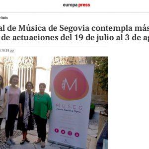 europa press: El Festival de Música de Segovia contempla más de una veintena de actuaciones del 19 de julio al 3 de agosto
