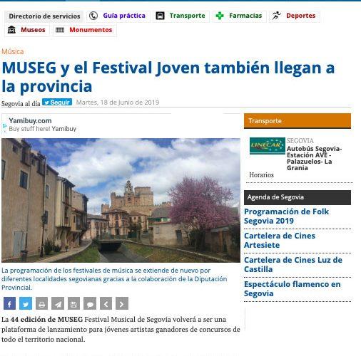 segoviaaldía.es: MUSEG y Festival Joven también llegan a la provincia