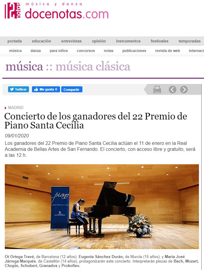 docenotas.com: Concierto de los ganadores del 22 Premio de Piano Santa Cecilia