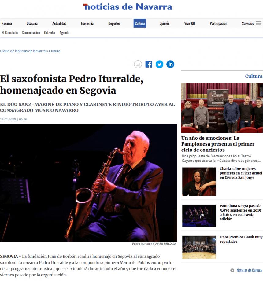 noticiasdenavarra.com: El saxofonista Pedro Iturralde, homenajeado en Segovia