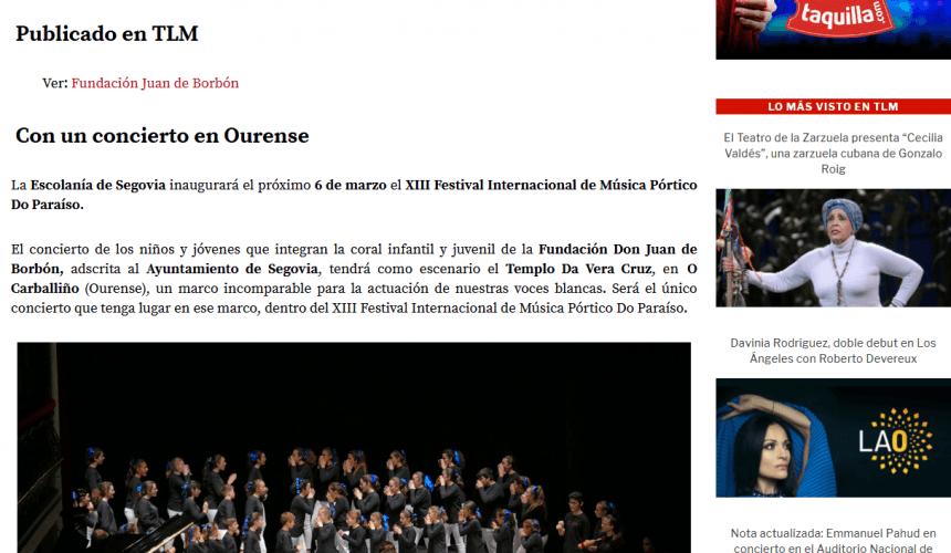 todalamusica.es: La Escolanía de Segovia inaugurará el Festival Internacional de Música Pórtico Do Paraíso