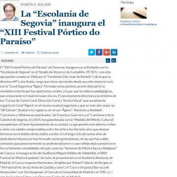 """La """"Escolanía de Segovia"""" inaugura el """"XIII Festival Pórtico do Paraíso"""""""