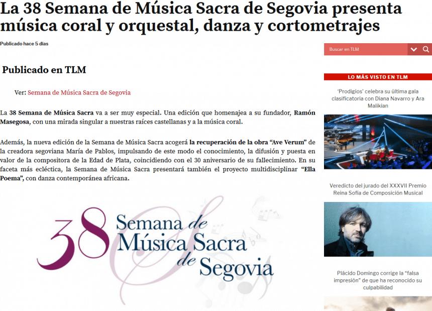 La 38 Semana de Música Sacra de Segovia presenta música coral y orquestal, danza y cortometrajes