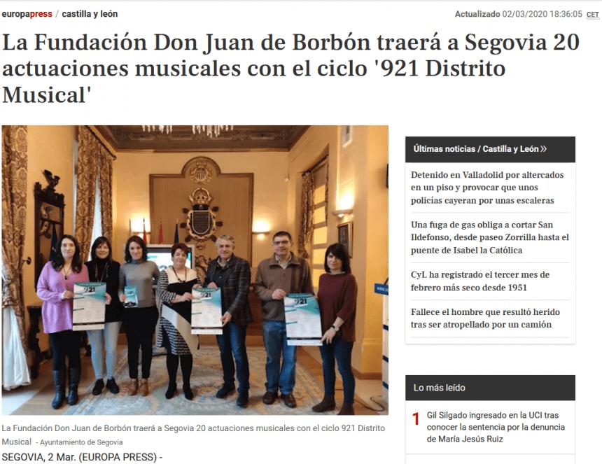 La Fundación Don Juan de Borbón traerá a Segovia 20 actuaciones musicales con el ciclo '921 Distrito Musical'