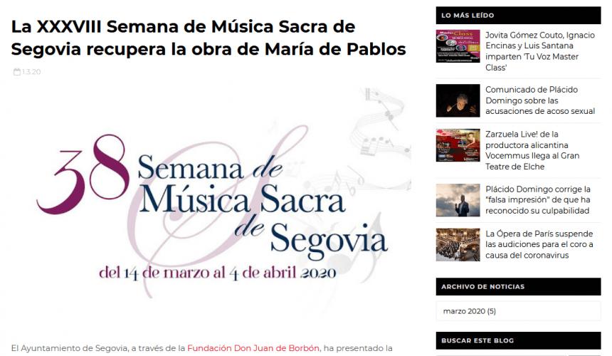 La XXXVIII Semana de Música Sacra de Segovia recupera la obra de María de Pablos