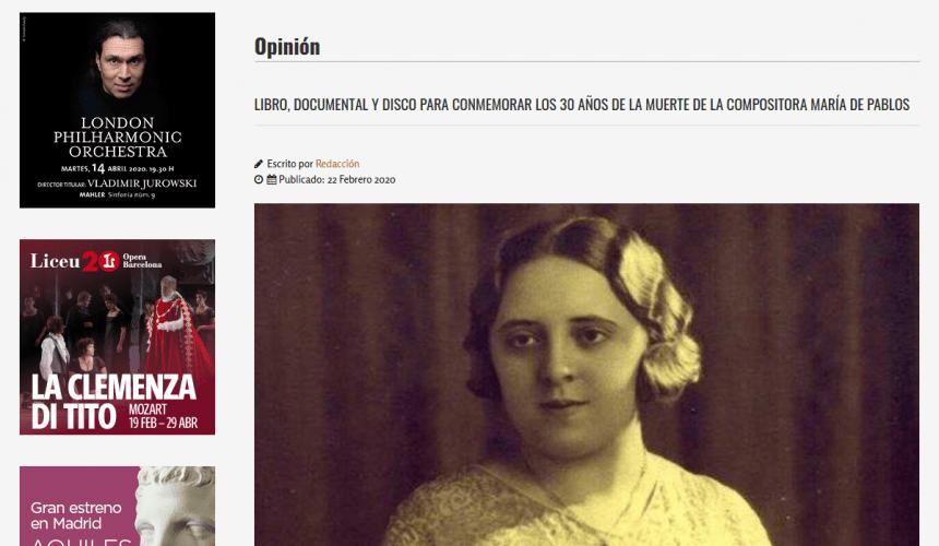 LIBRO, DOCUMENTAL Y DISCO PARA CONMEMORAR LOS 30 AÑOS DE LA MUERTE DE LA COMPOSITORA MARÍA DE PABLOS