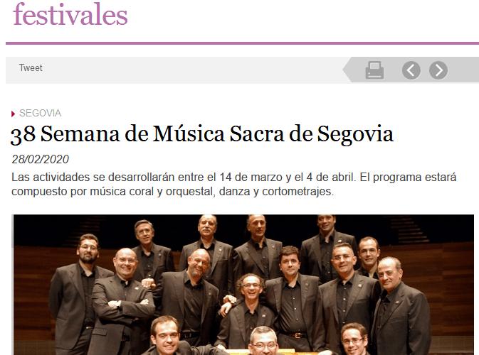 38 Semana de Música Sacra de Segovia