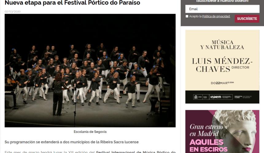 Nueva etapa para el Festival Pórtico do Paraíso