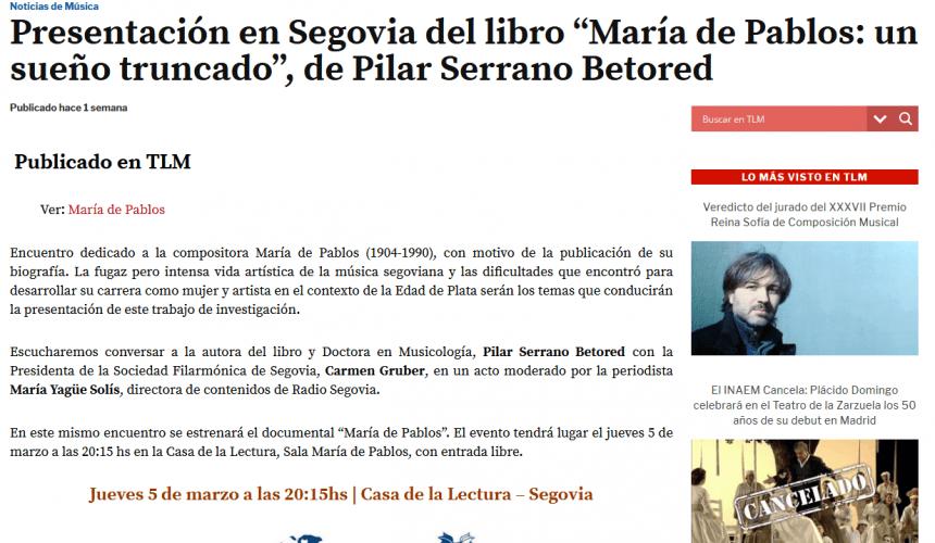 """Presentación en Segovia del libro """"María de Pablos: un sueño truncado"""", de Pilar Serrano Betored"""