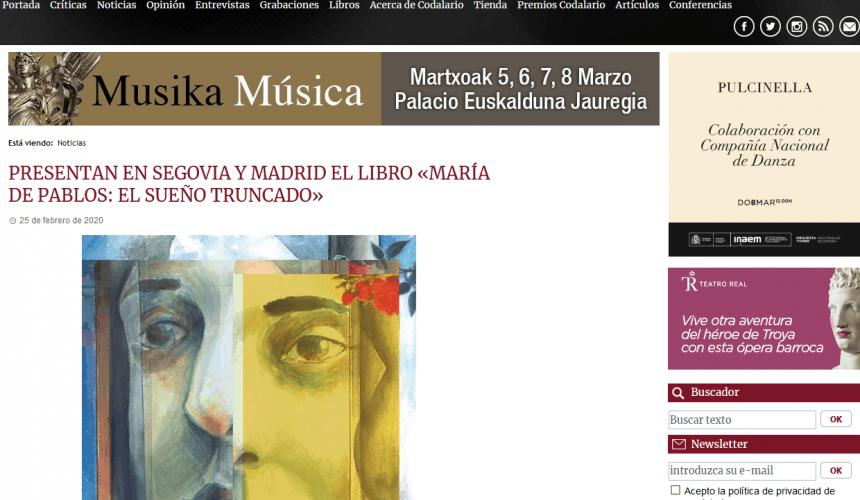 PRESENTAN EN SEGOVIA Y MADRID EL LIBRO «MARÍA DE PABLOS: EL SUEÑO TRUNCADO»