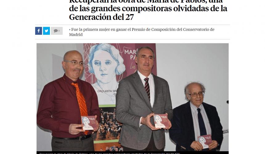 Recuperan la obra de María de Pablos, una de las grandes compositoras olvidadas de la Generación del 27