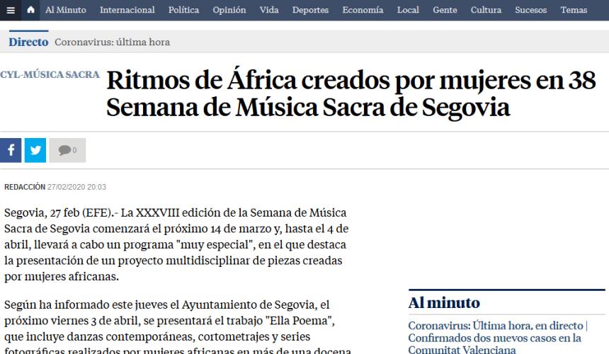 Ritmos de África creados por mujeres en 38 Semana de Música Sacra de Segovia