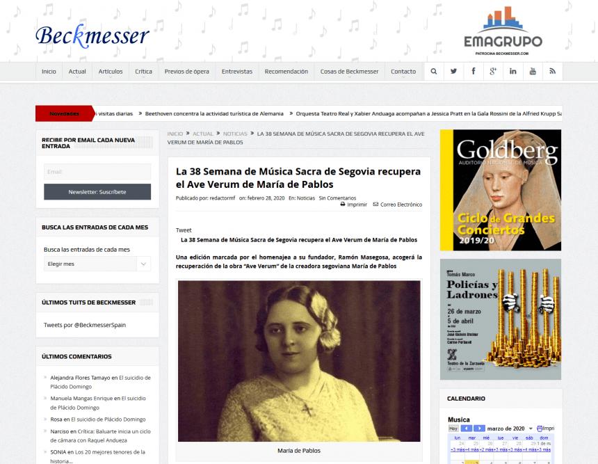 La 38 Semana de Música Sacra de Segovia recupera el Ave Verum de María de Pablos