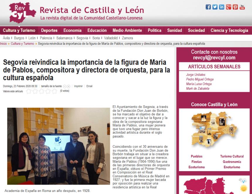Segovia reivindica la importancia de la figura de María de Pablos, compositora y directora de orquesta, para la cultura española