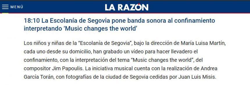 18:10 La Escolanía de Segovia pone banda sonora al confinamiento interpretando 'Music changes the world'