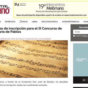 Ampliado el plazo de inscripción para el Concurso de Composición 'María de Pablos'