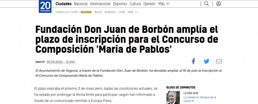 Fundación Don Juan de Borbón amplía el plazo de inscripción para el Concurso de Composición 'María de Pablos'