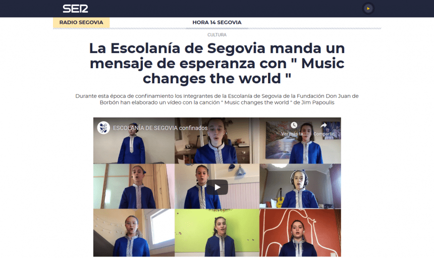"La Escolanía de Segovia manda un mensaje de esperanza con "" Music changes the world """