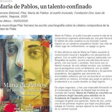 María de Pablos, un talento confinado