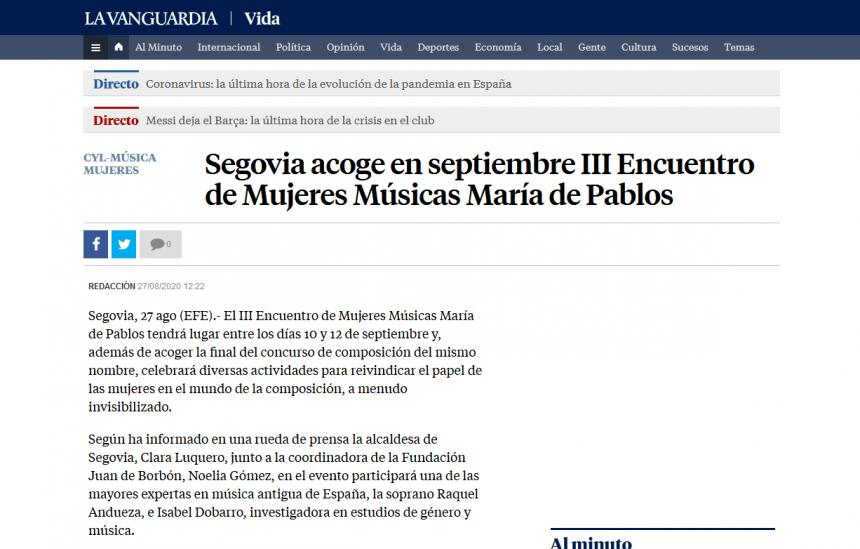 Segovia acoge en septiembre III Encuentro de Mujeres Músicas María de Pablos