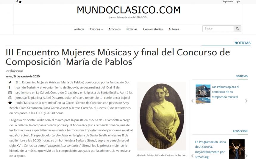 III Encuentro Mujeres Músicas y final del Concurso de Composición 'María de Pablos'