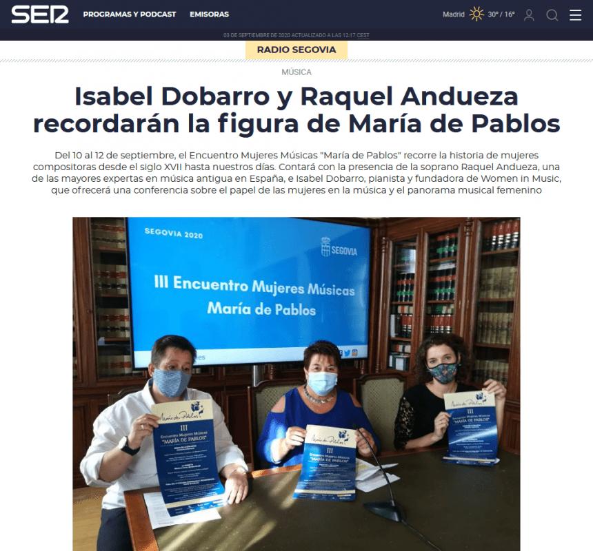 Isabel Dobarro y Raquel Andueza recordarán la figura de María de Pablos