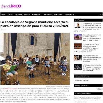 La Escolanía de Segovia mantiene abierto su plazo de inscripción para el curso 2020/2021