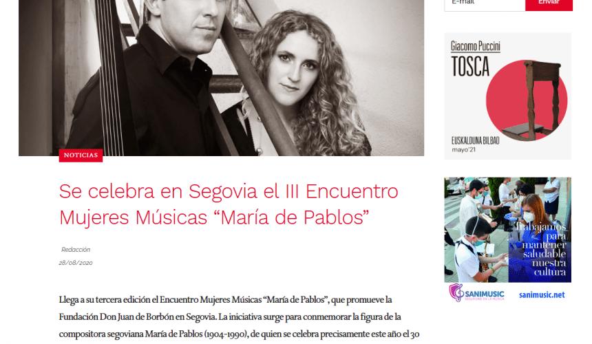 """Se celebra en Segovia el III Encuentro Mujeres Músicas """"María de Pablos"""""""